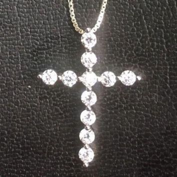 14K Gold Layer On Solid Silver Cubic Zirconia Cross Charm Pendant Free Chain.
