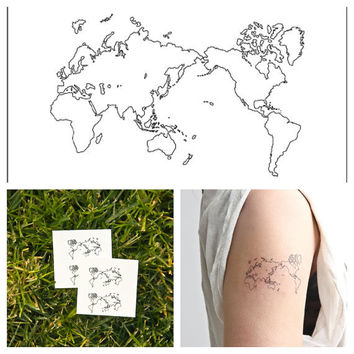 Map of the World  temporary tattoo Set of 4 by Tattify on Etsy