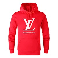 LV Louis Vuitton Autumn And Winter New Fashion Letter Print Women Men Leisure Hooded Long Sleeve Sweater Red