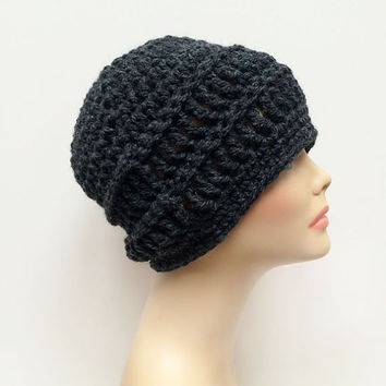 FREE Shipping - Unisex, Men's, Women's, Crochet Beanie Hat - Charcoal, Gray