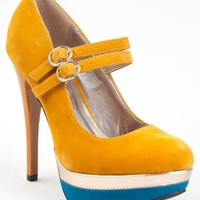 Qupid SIN-08 Colorblock Platform High Heel Round Toe Double Strap Mary Jane Pump