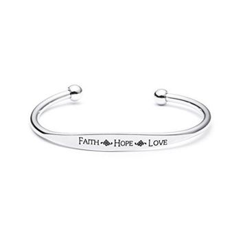 Bangle Bracelet Cuffs for Women Rhodium Plated Inspirational Saying Engraved Birthday Jewelry Gift