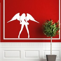 Housewares Vinyl Decal Slim Girl With Wings Angel Fashion Home Wall Art Decor Removable Stylish Sticker Mural Unique Design for Any Room