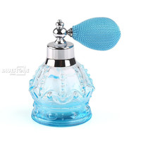 100ml Vintage Crystal Perfume Bottle blue Spray Atomizer Refillable Glass Gift
