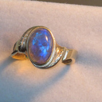 Semi-Crystal Solid Black Opal Ring,14ctgold,size: P