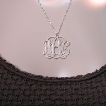 1.25 '' Monogram Necklace Personalized Initials Three Letters Monogrammed Sterling Silver 925 Customized Pendant Custom Made Name Message