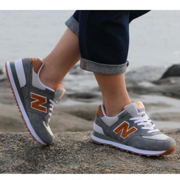 New balance abric is breathable n leisure sports Couples forrest gump running Khaki-2