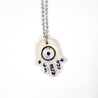 mother's day hamsa ceramic necklace/ ceramic jewelry/ jewelry for women/ hamsa necklace