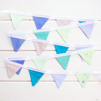 Green Blue Mini Bunting Good Will Bunting Seaside