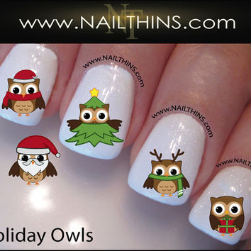 Holiday Owls Nail Decal Christmas Owls Tree Santa Nails  by NAILTHINS