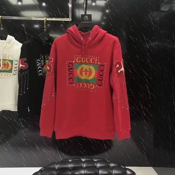 2018 GUCCI autumn and winter latest hooded letter standard sweater