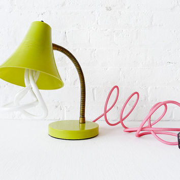 15% SALE - Retro Vintage Gooseneck Desk Table Lamp - Kiwi Colored with Plumen Bulb and Neon Pink Net Color Cord