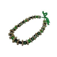 Cowrie Shell with Green Hibiscus Kukui Nut Lei