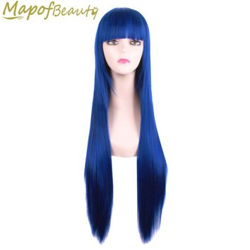 "Long straight hair 80cm 32 ""cosplay wig black light blonde 17 colors synthetic wigs Costume Party Ladies peruca MapofBeauty"