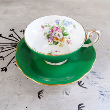 Tea Cup Green Tea Cup EB Foley Bone China Teacup Porcelain Tea Cup Kelly Green Tea Service Foley Tea Cup Housewarming Gift Vintage Teacup