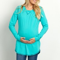 Mint-Green-Stitched-Accent-Long-Sleeve-Maternity-Top
