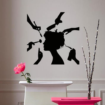 Wall Decals Vinyl Decal Hairdressing Salon Fashion Girl Beauty Salon Spa Salon Home Vinyl Decal Sticker Kids Nursery Baby Room Decor kk176