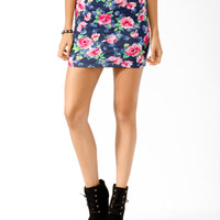 Vibrant Floral Bodycon Skirt