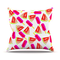 "Sreetama Ray ""Strawberry & Watermelon"" Pink Red Throw Pillow"