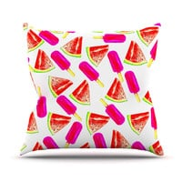 "Sreetama Ray ""Strawberry & Watermelon"" Pink Red Outdoor Throw Pillow"