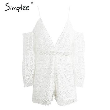 Simplee Hollow out white lace jumpsuit romper Sexy deep v neck off shoulder short playsuit Women causal summer beach overalls