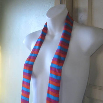 Lux 1980s Thin Silk Turquoise/Orange/Fuchsia Neck Tie - Thin Striped Head Tie - Striped Thin Unisex Neck Scarf - Thin Silk Scarf; Japan