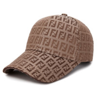"""Fendi"" Fashion Women Men Tartan Hat Cap Khaki"