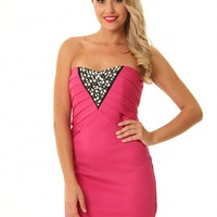 Hotpink JD231 sweet and sexy hot pink embellished bandeau dr