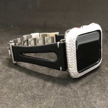 Apple Watch Leather Band 38mm/40mm 42mm/44mm Slim Black  Stainless Clasp Womens Series 1 2 3 4/Iced Out Bezel Case Cover Lab Diamonds Iwatch