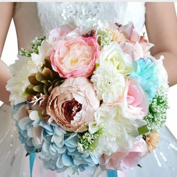 Beautiful Silk & Real Touch Floral Beach Wedding Bouquet