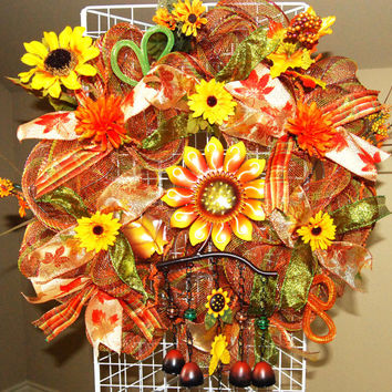 Fall Sunflower Wind Chime Deco Mesh Wreath by KraftyKreations4You