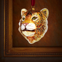 Tiger Head Christmas Ornament - Jay Strongwater