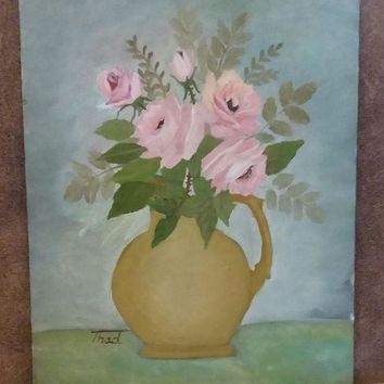 CREYDC0 Oil painting - still life, flowers, 14' x 18'
