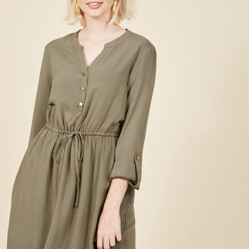 Kheer to Join Us? Shirt Dress in Cardamom | Mod Retro Vintage Dresses | ModCloth.com
