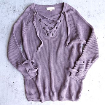 lace up grommet sweater - dusty purple