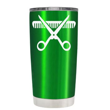 HairStylist Scissor and Comb Silhouette on Translucent Green 20 oz Tumbler Cup