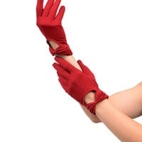 Sure Fit Dark Red Wrist Length Bow Keyhole Texting Gloves