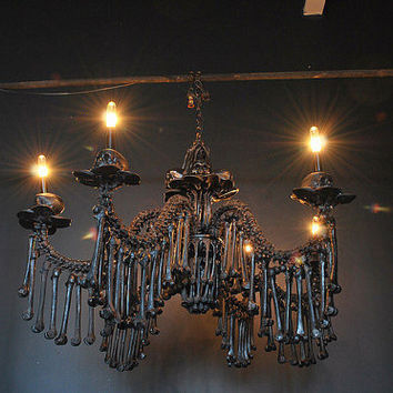 Bone Chandelier Gothic Chandelier Original Scupture by AGC916