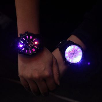 Fashion JIS Brand Big Dial LED Backlight - Sport Watch Wrist Watch-Men Women Unisex Black White Red