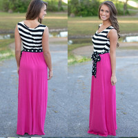 Pink Black and White Striped Maxi Dress