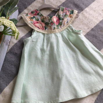 9 to 12 month Baby Girl Dress Vintage Mint Linen with Floral Collar Flower Girl Dress Easter Baby Special Occasion Dress