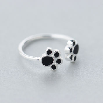 Retro Real. 925 Sterling Silver Jewelry Double Dog paw Puppy Ring adjustable 925-sterling-silver Ring free size GTLJ1074