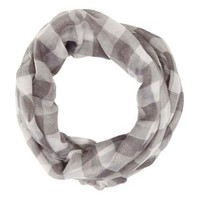 Gray Checkered Infinity Scarf by Charlotte Russe