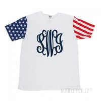 Monogrammed American Flag Short Sleeve T-Shirt | Marley Lilly