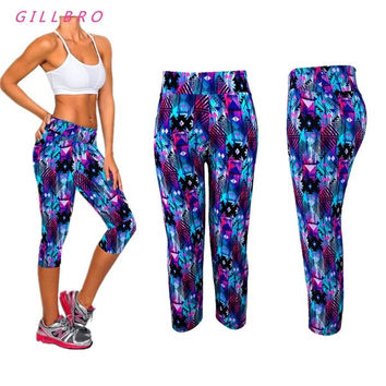 Womens High Waist Fitness YOGA Sport pants Printed Stretch Cropped Leggings = 1932721924