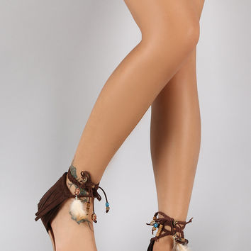 Embroidered Tribal Fringe Braided Ankle Strap Open Toe Flat Sandal