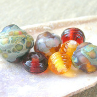 Lampwork Bead Set Baroque and Ribbed Beads in Spring Colors Handmade Jewelry Supplies