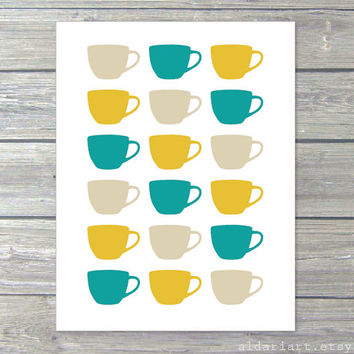 Tea Cups Digital Print Kitchen Wall Art  - Teal Mustard Yellow Tan Beige - Spring Summer Autumn Home Decor - Under 20