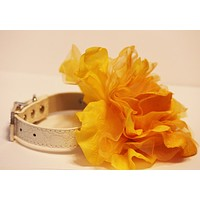 Sunny, Yellow Floral Dog Collar, High Quality White Leather Collar, Wedding Dog Accessory