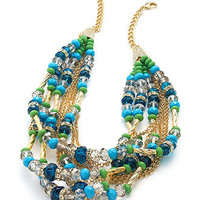 INC International Concepts Necklace, Gold-Tone Blue and Green Bead Torsade Necklace - Fashion Jewelry - Jewelry & Watches - Macy's